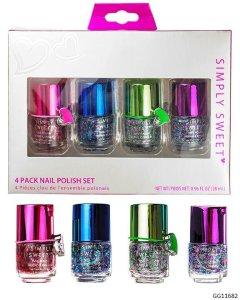 Esmalte para uñas con brillos, 4 pzas