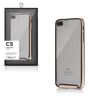 Funda para celular transparente con marco dorado, iPhone 7