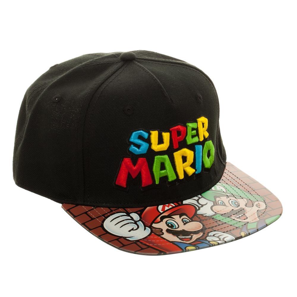 Gorra negra con personajes de Super Mario