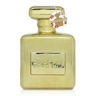 Alcancía, botella de perfume, color dorado