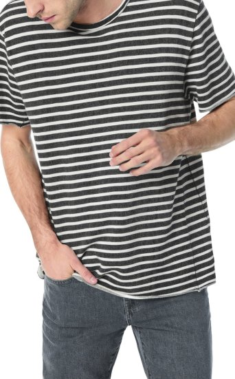 engineered blk wht french terry stripe