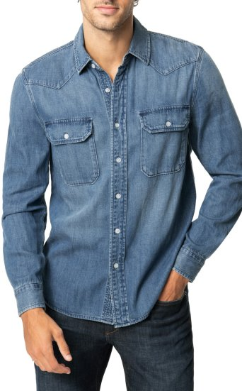 DENIM BUTTON DOWN WITH MITERED POCKETS