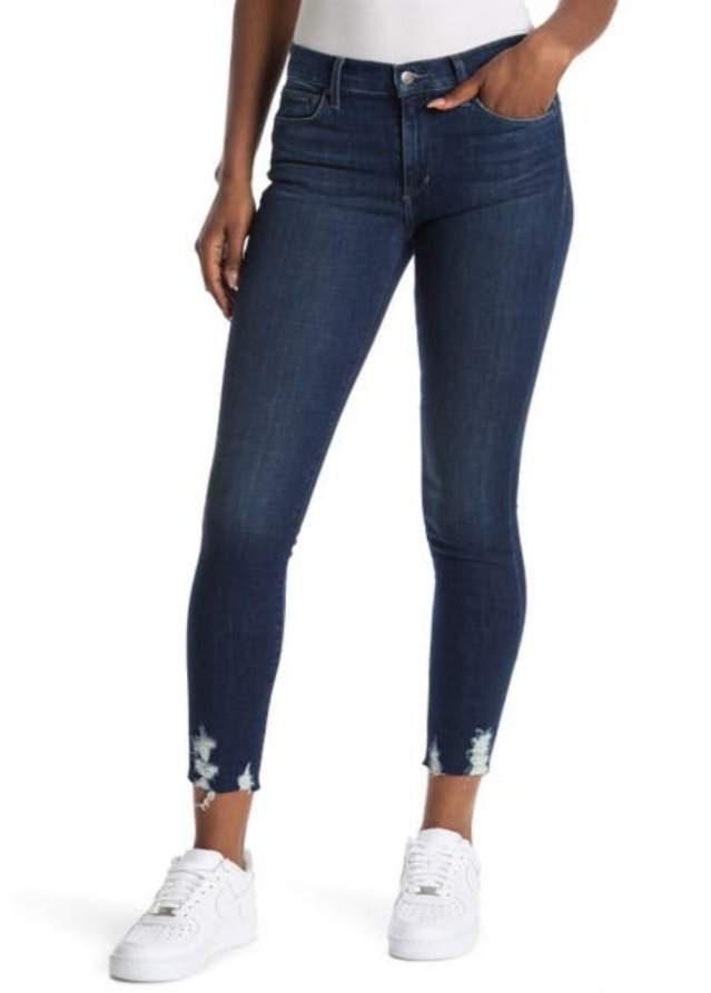 MID RISE SKINNY ANKLE W/ DESTRUCTED F&B