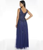 Navy Sequin Embroidered V- Neck Sleeveless Maxi Dress