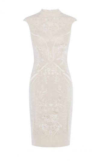 Vestido tubo bordado