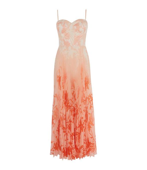 Vestido extralargo floral plisado