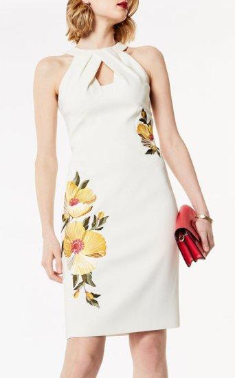 Vestido tubo bordado floral anudado