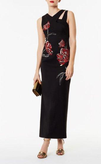 Vestido extralargo bordado floral