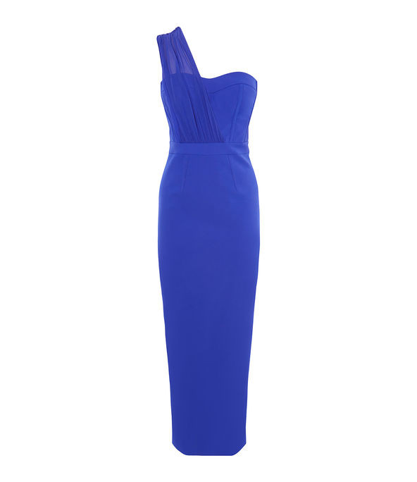 Vestido tubo asimétrico azul