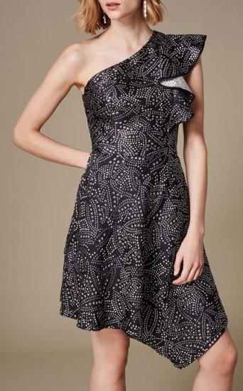 Vestido jacquard metalizado