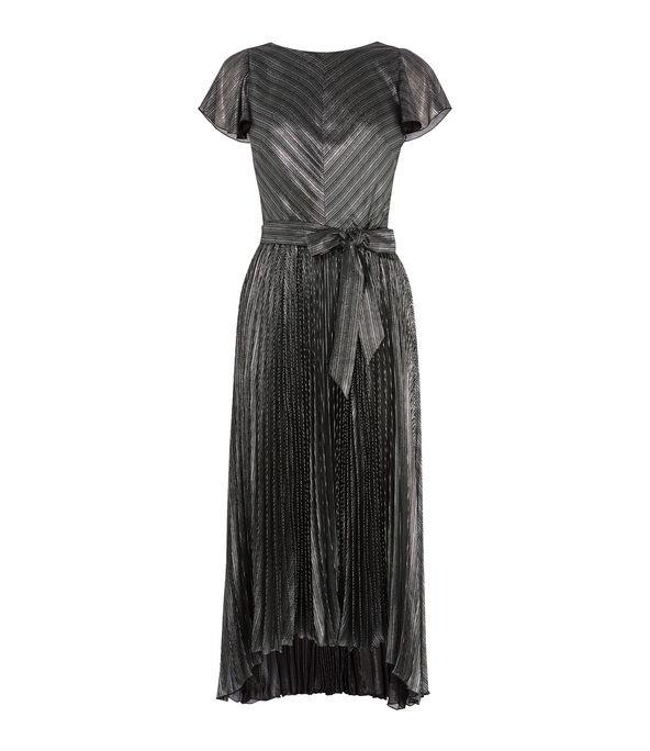 Vestido plisado metalizado