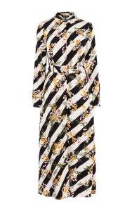 Vestido camisero flores rayas