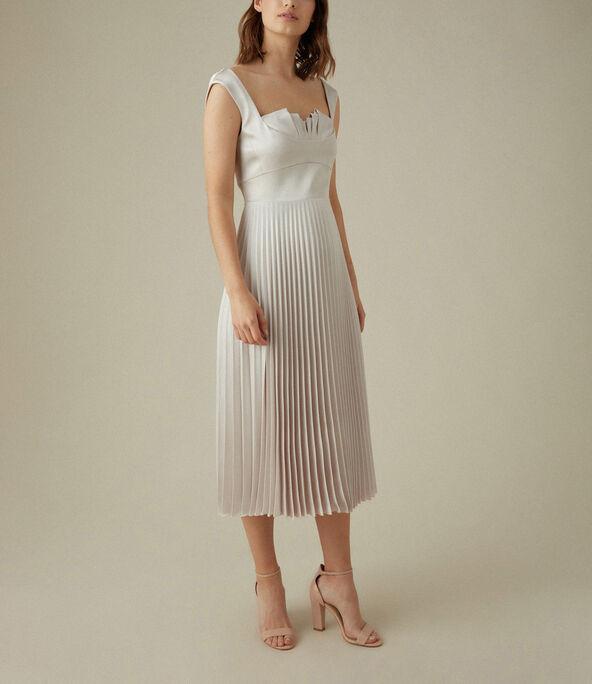 Pleated Satin Dress