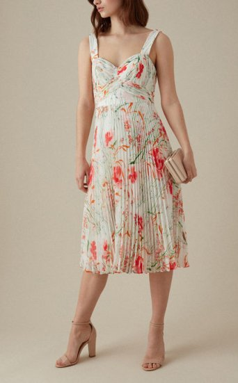 Vestido plisado floral