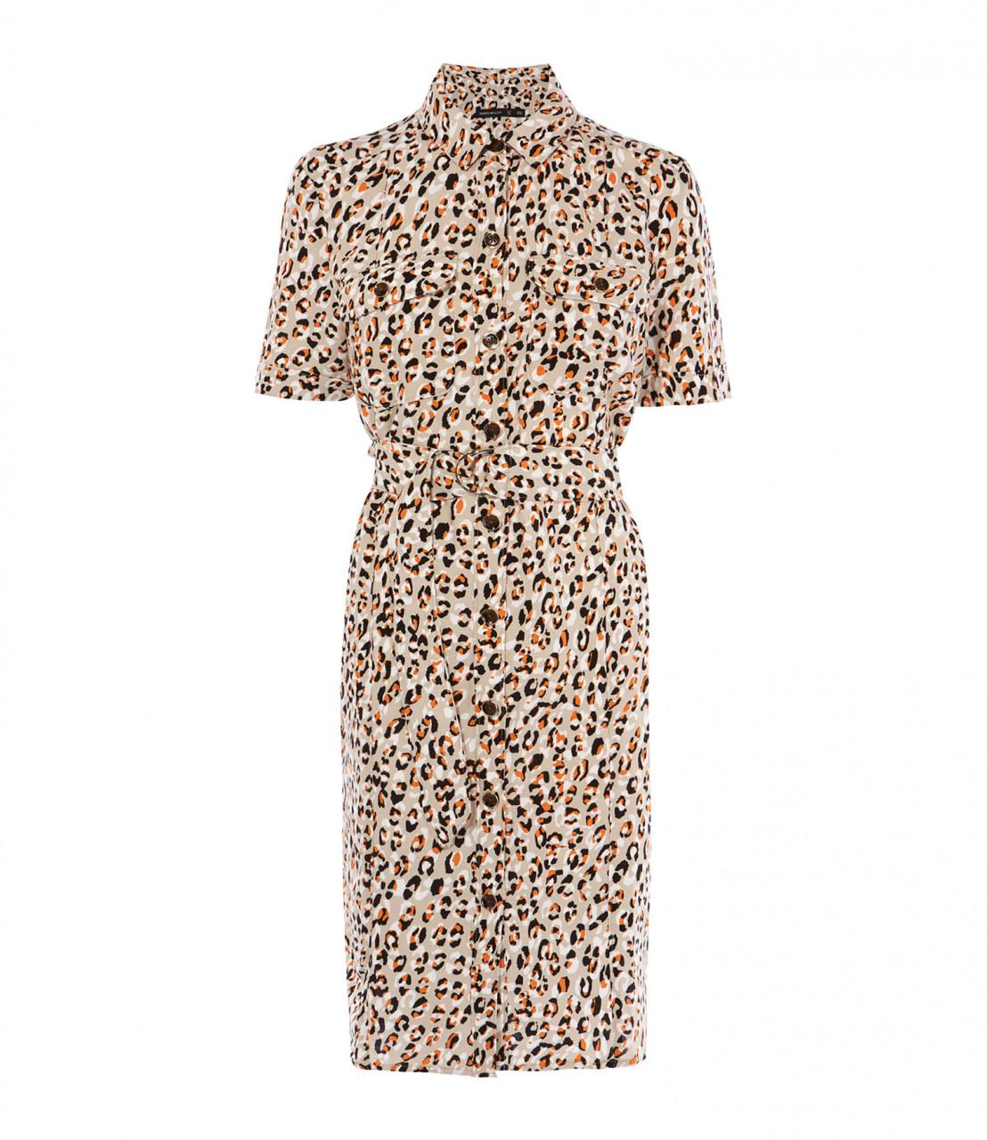 Vestido camisero estampado leopardo