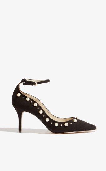 Zapatos tacón adorno perlas