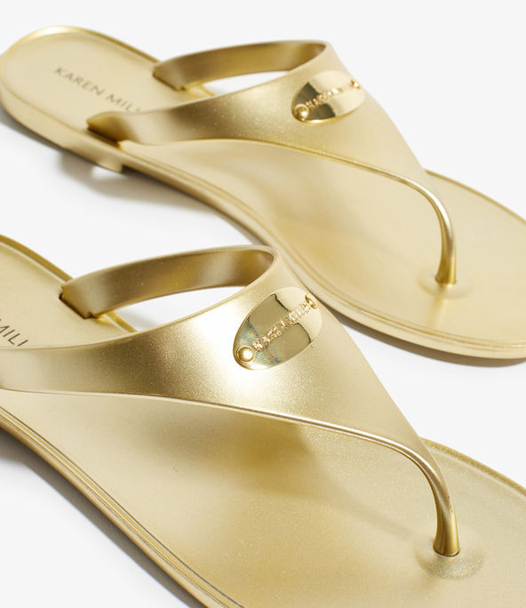 Sandalias con adornos y logo