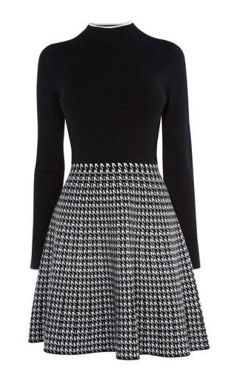 Vestido gráfico blanco y negro