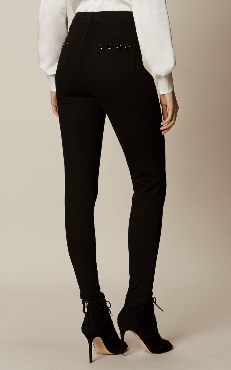 Jeans de cintura alta con ojales