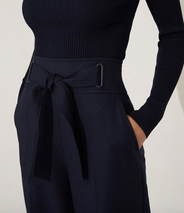 Tie Waist Eyelet Trousers