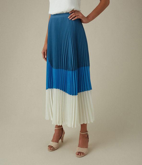 Falda plisada bloques color