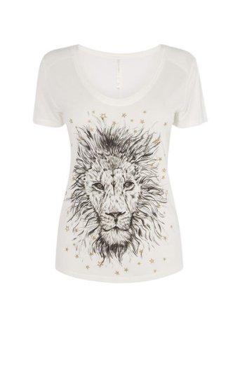 Camiseta león dorado bordado