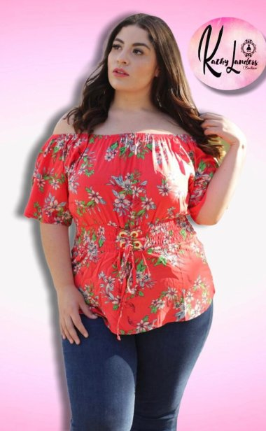 BLUSA FLORES ROJAS OFF SHOULDER