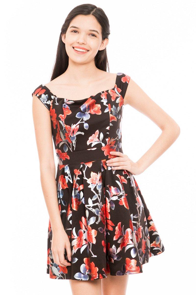 Vestidos floreados color negro