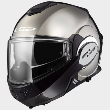 CASCO ABATIBLE LS2 VALIANT 180 DEGREES SOLID CROMO FF399