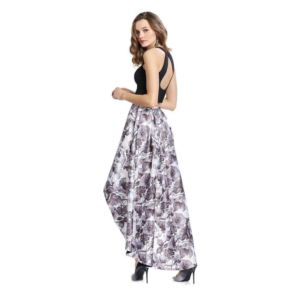 Alia vestido largo de dos piezas con crop- top en acabado liso