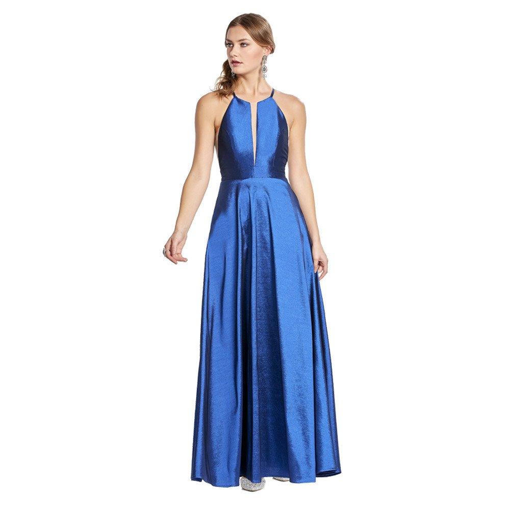 Velia vestido largo con transparencia en frontal y laterales.