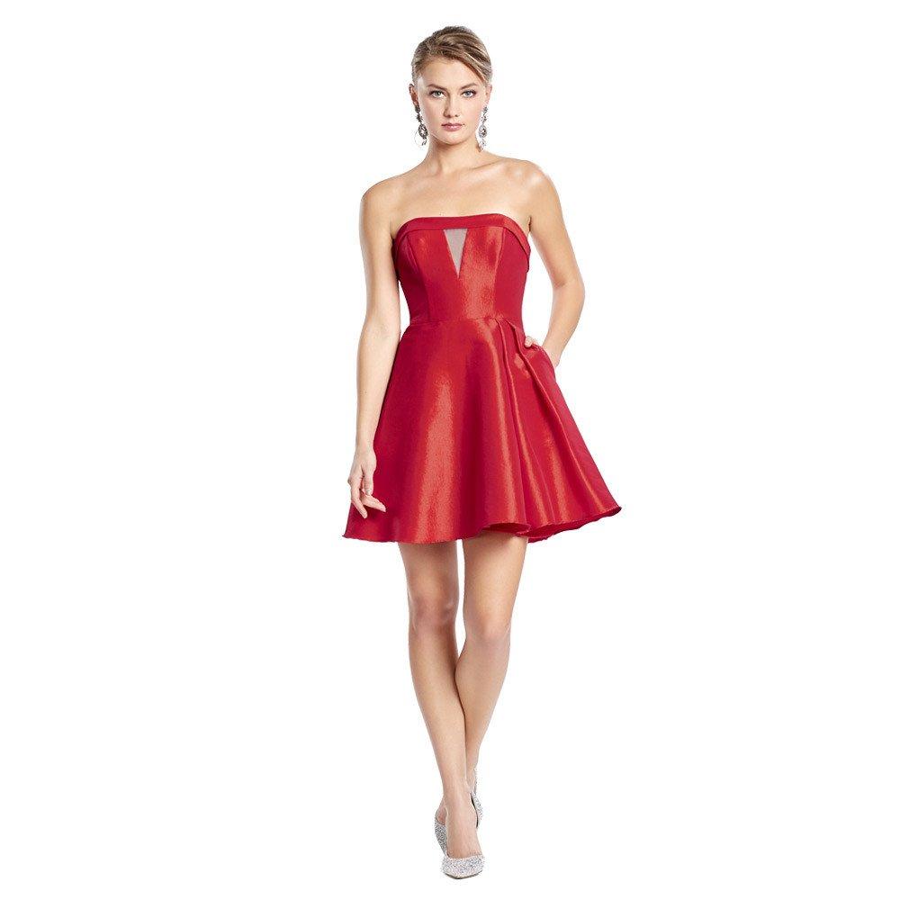 Kloe vestido corto con corte trasparente en frontal y escote strapless