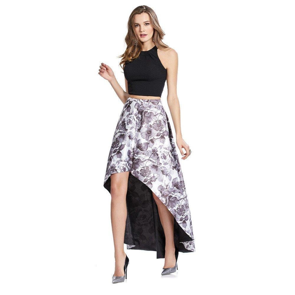 Alia vestido largo de dos piezas con crop- top en acabado liso.