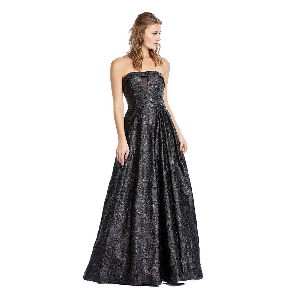 Copelia vestido largo con texturizado en acabado metalizado.
