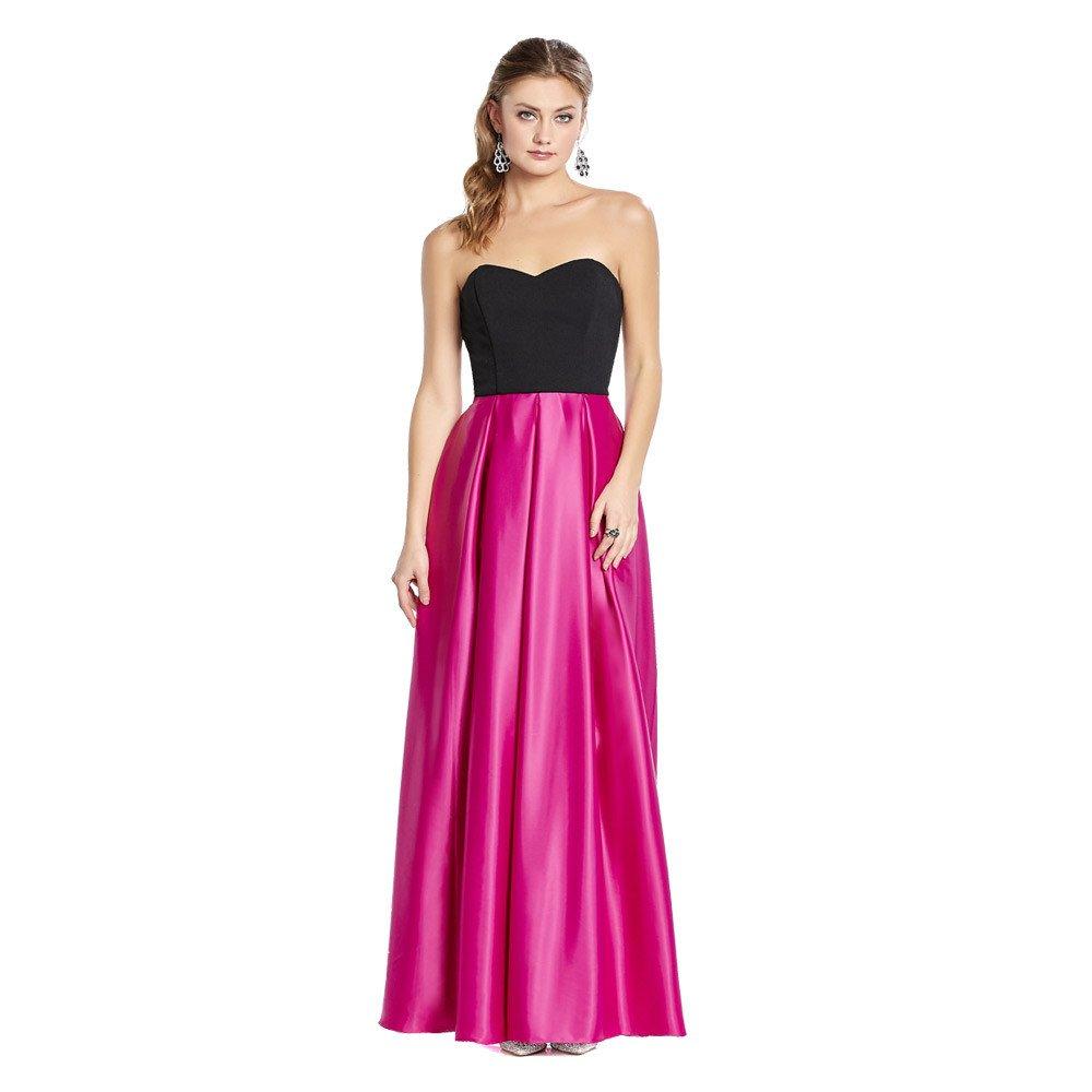 Flavia vestido largo bicolor con escote strapless en acabado liso.