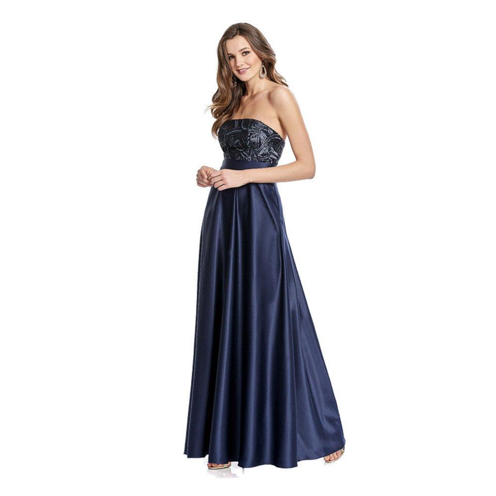 Dunia vestido largo, escote strapless con aplicación de pedrería y acabado brillante.