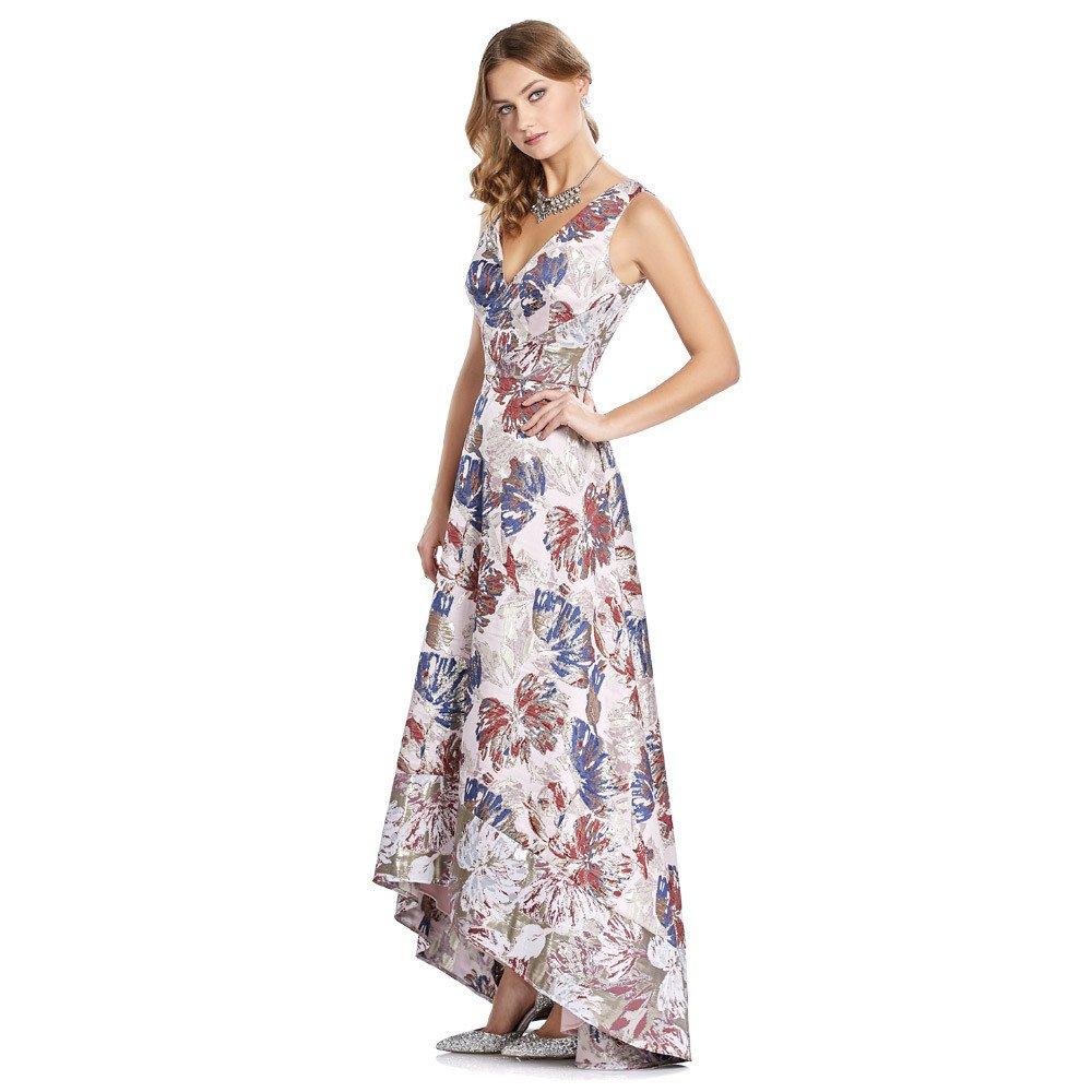 Ambar vestido largo con brocado de hojas bicolor en acabado metalizado