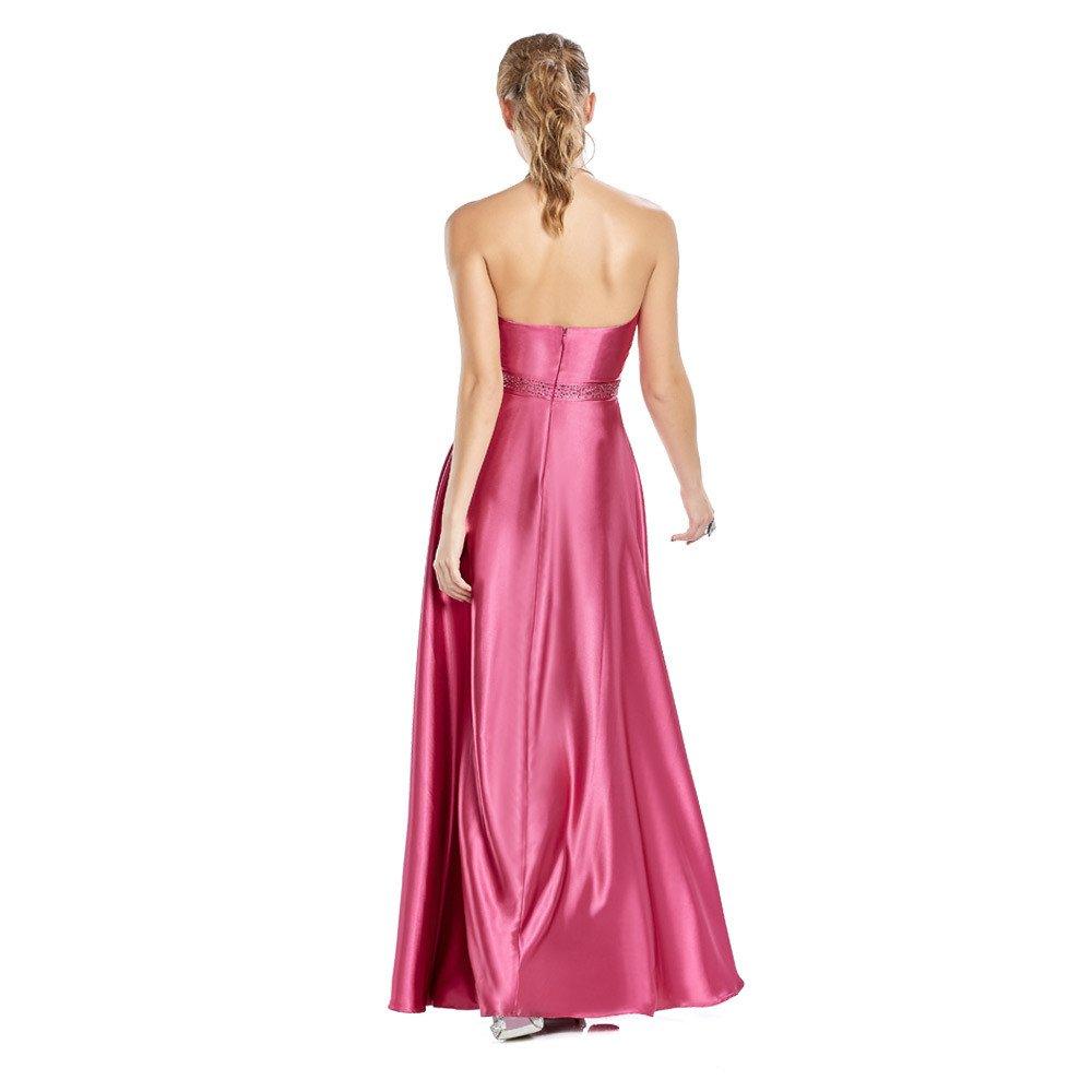 Xenia vestido largo con aplicación de pedrería en cintura y pinzas decorativas en escote.