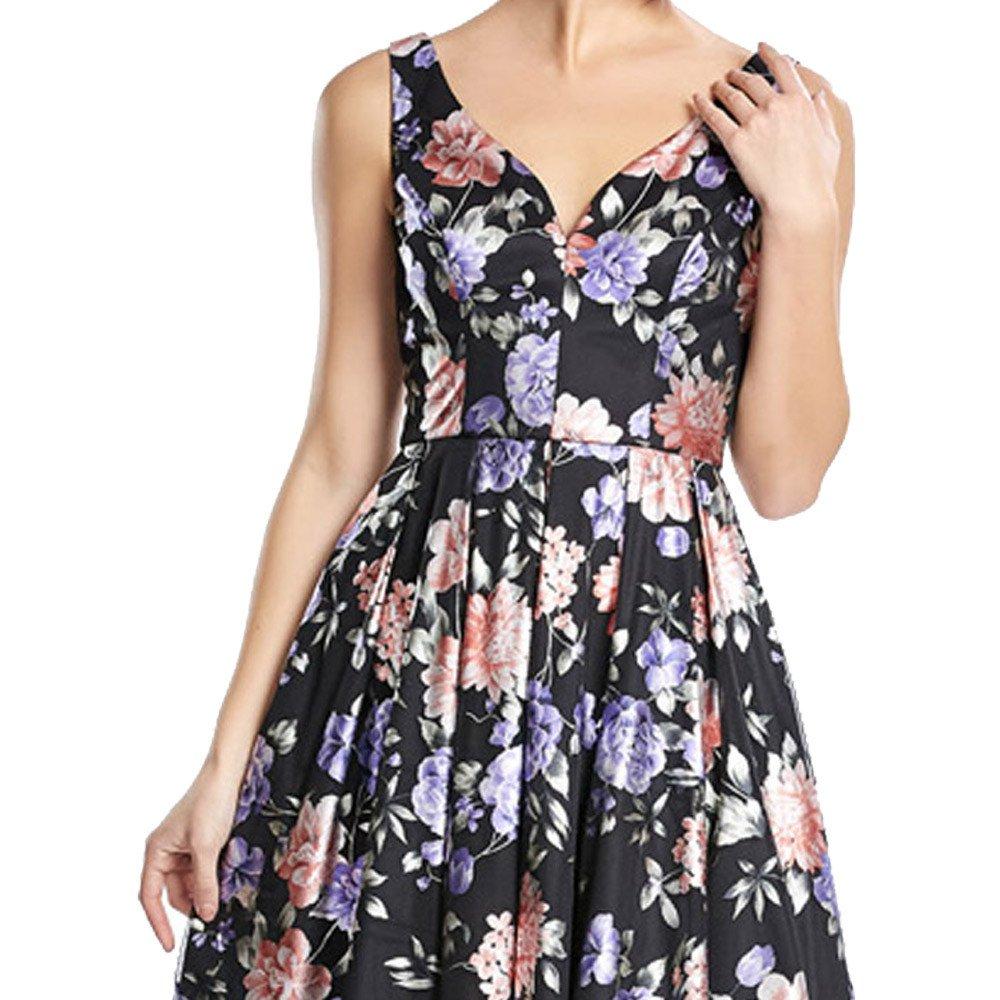Grisel vestido corto con estampado de flores, escote corazón y tirantes anchos.