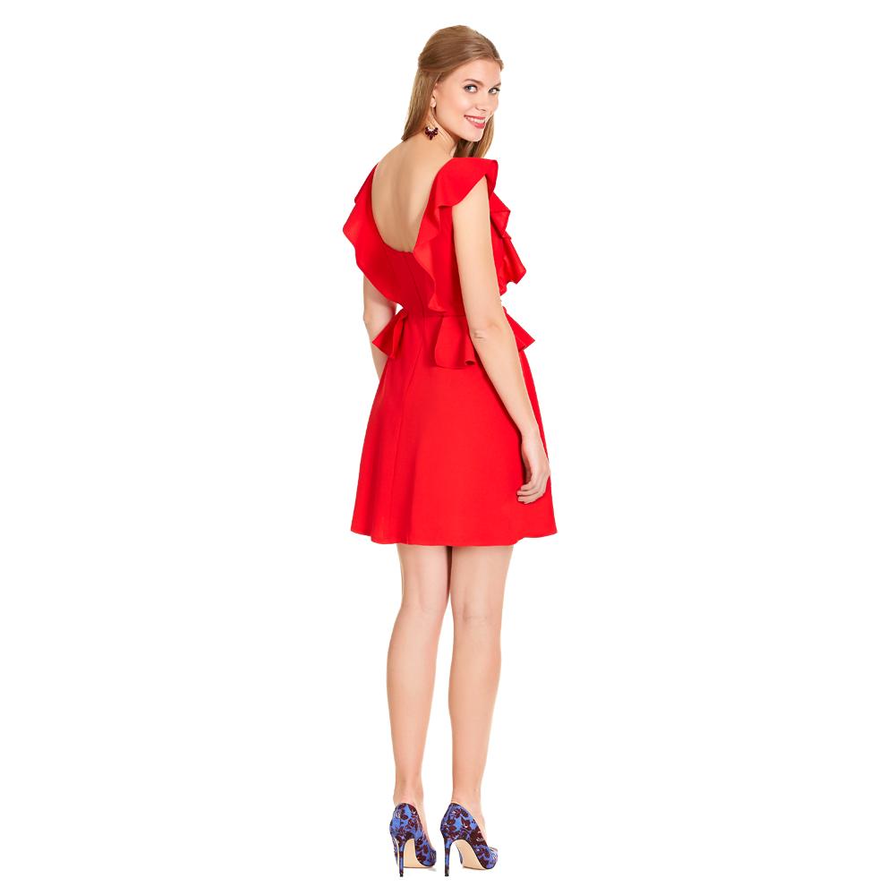Bibi vestido corto olanes con escote en la espalda