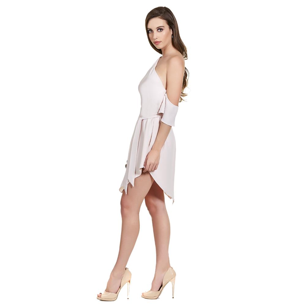 Alison vestido corto asimetrico con manga