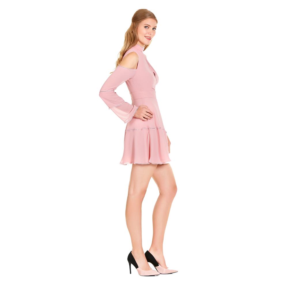 Alexia vestido corto manga larga cuello alto