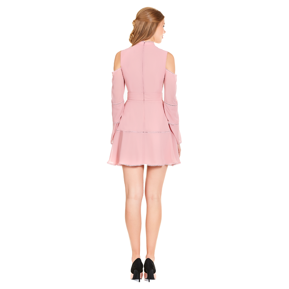 Alexia vestido corto manga larga hombro descubierto