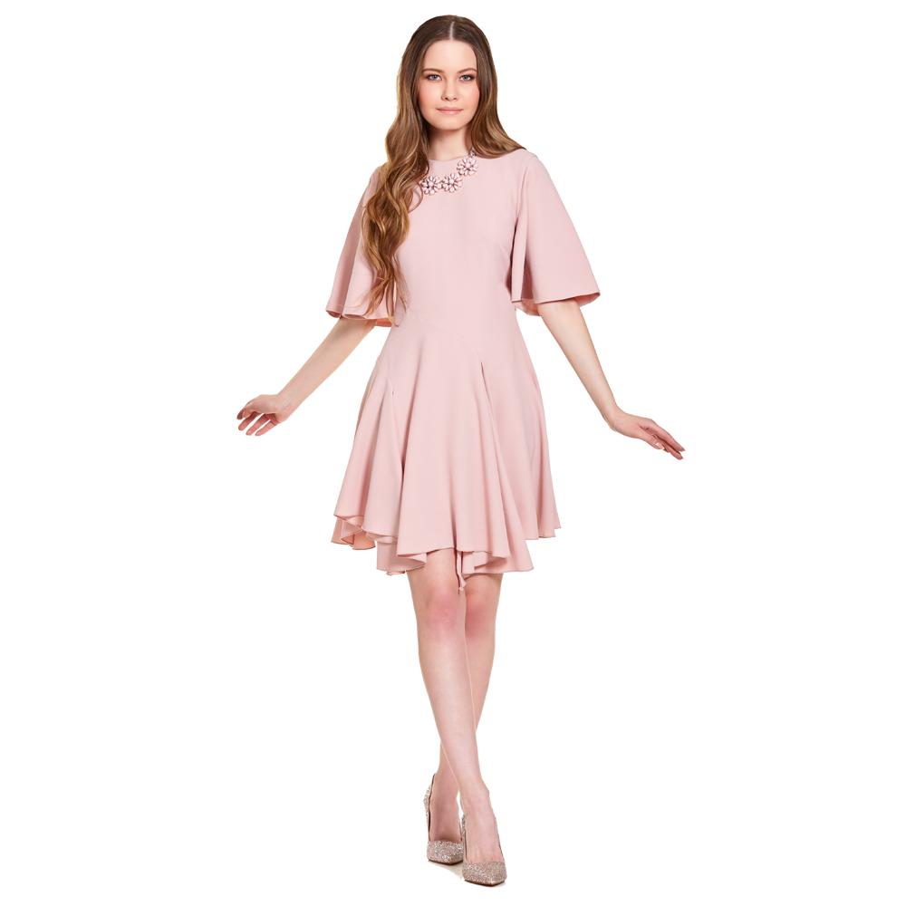 Alessia vestido corto manga con vuelo