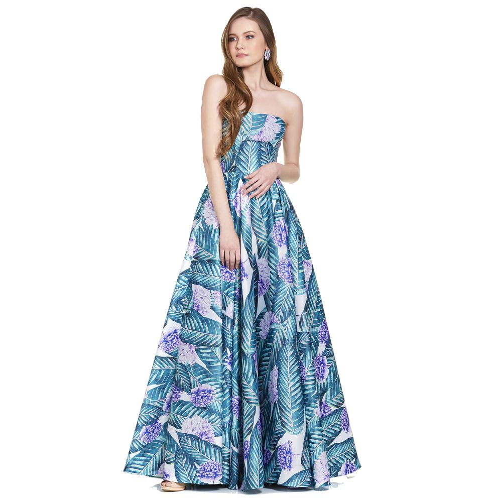 Angie vestido largo strapless floral