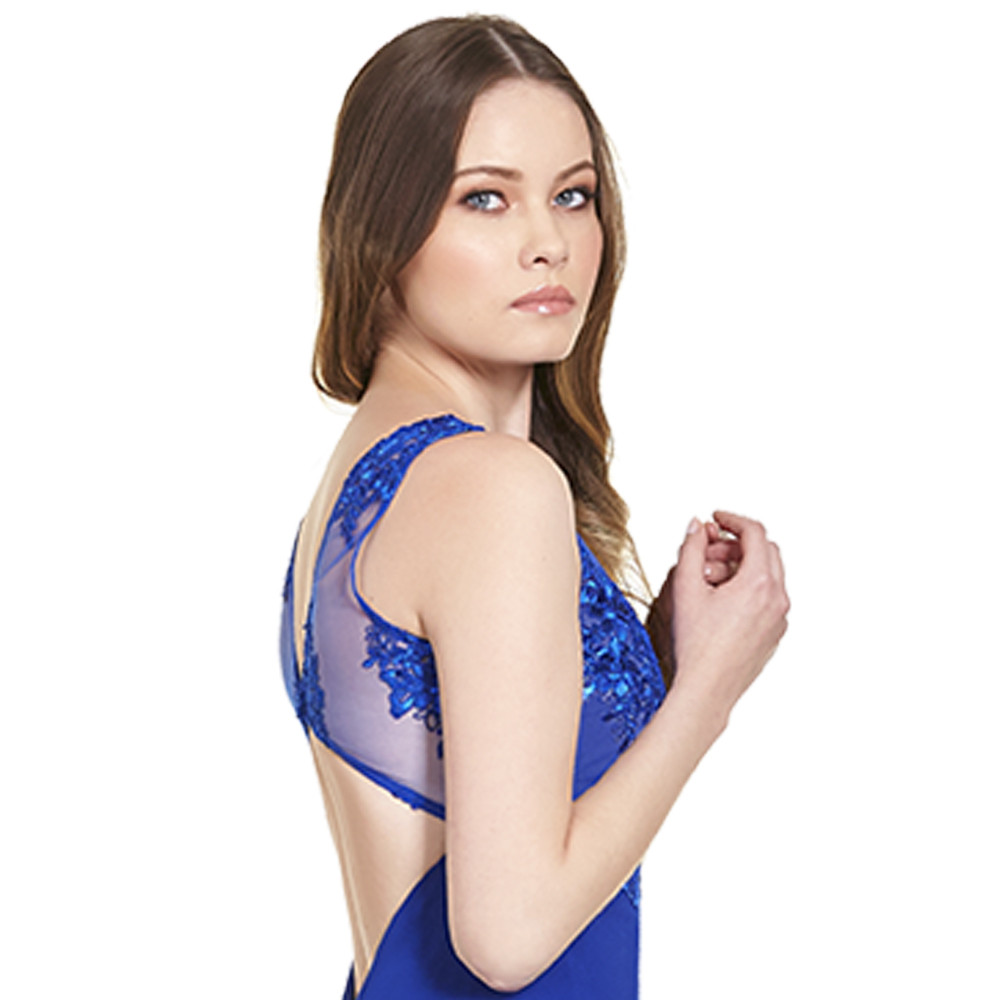 Georgia vestido largo escote ilusión