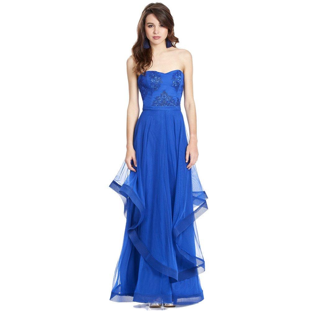 Mirari vestido largo strapless escote corazón