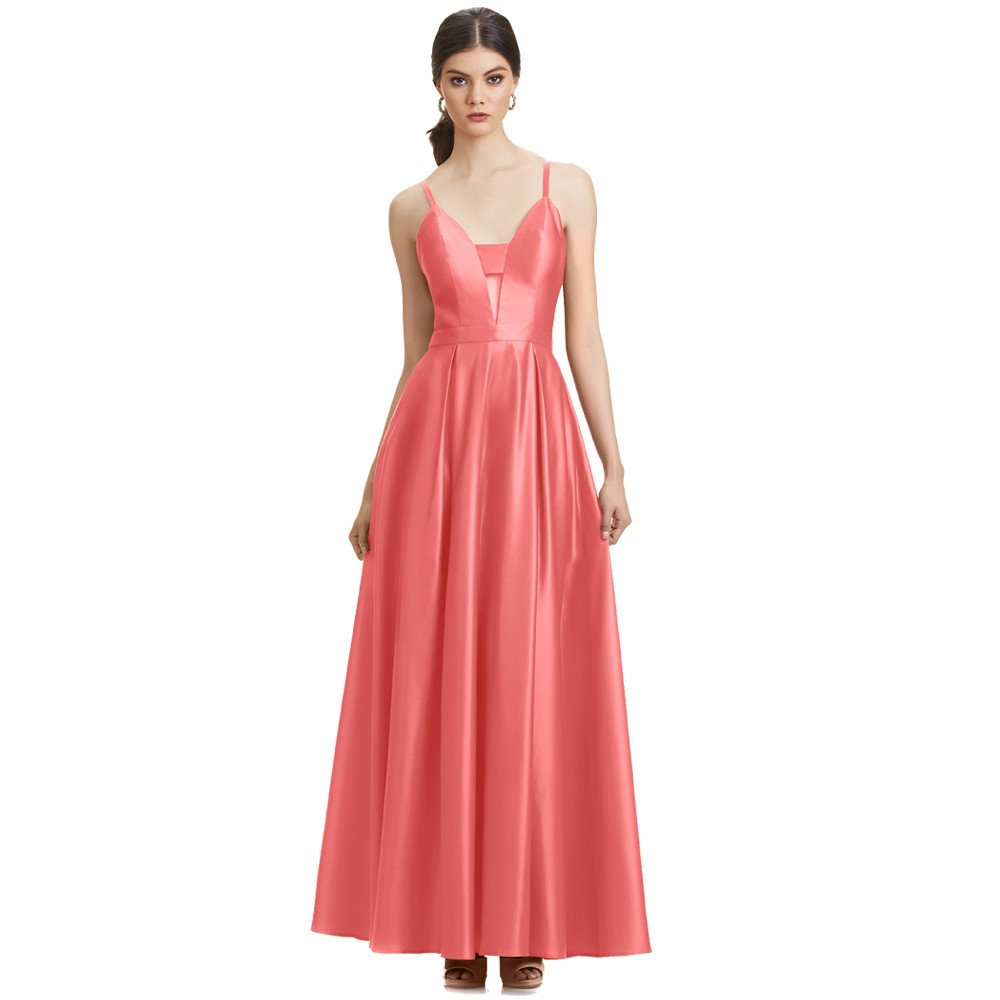 Charlize vestido largo escote V espalda descubierta