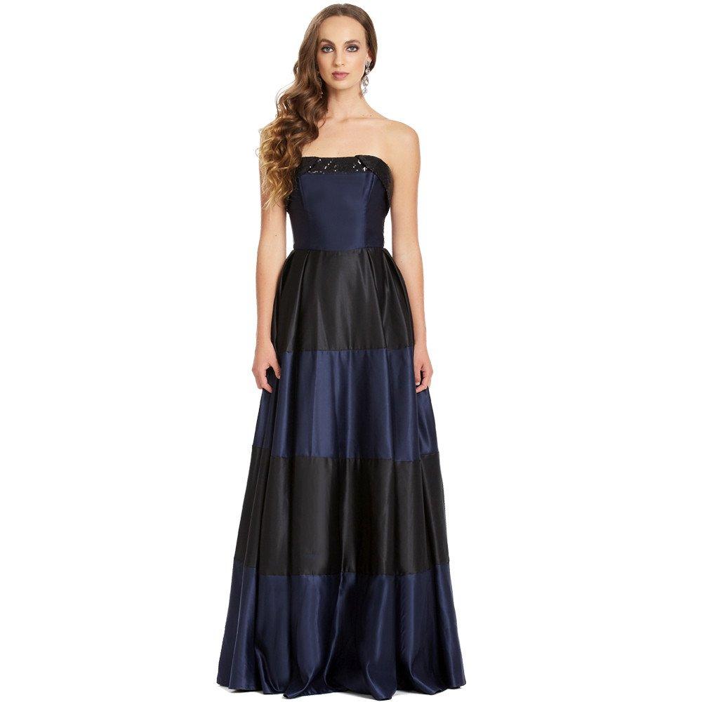 Idara vestido largo strapless falda corte