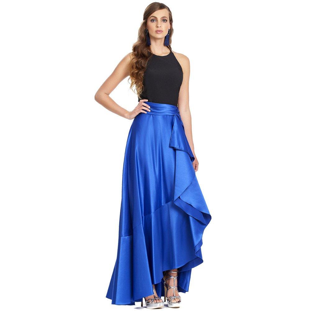 Irina vestido largo asimétrico con escarola